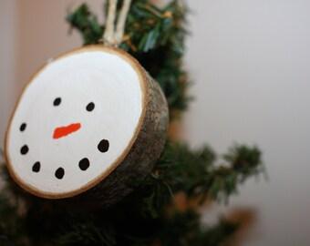 Rustic Birch Wood Snowman Ornament