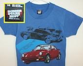 Porsche Carrera vintage youth t-shirt size 6-8 blue 80s 1989 kids' boys' girls'