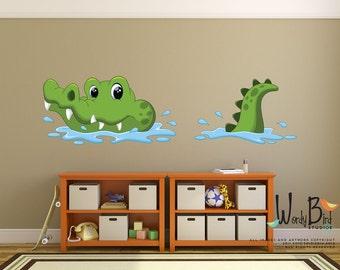 Crocodile reusable fabric kids wall decals - nursery wall mural