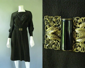 Vintage 1930s Dress - Plus Size 30s Satin and Rayon Dress with Brass Buckle - Little Black Dress
