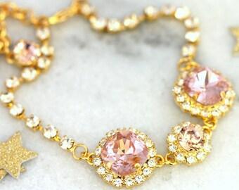 Bridal Blush Bracelet,Swarovski Bridal Bracelet,Bridal Blush Swarovski Bracelet,Wedding Blush Bracelet,Bridal Gold Blush Crystal Bracelet.