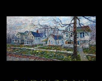 Oil Painting 48 by 24 by 1.5 in. / original oil painting original house landscape cityscape victorian house