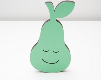 Pear wooden cute green happy sleepy eyes nursery shelf decoration