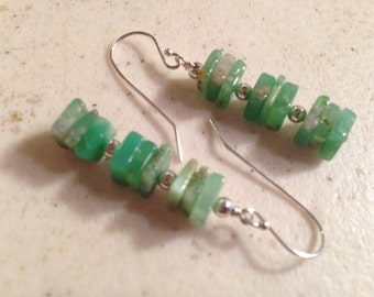 Chrysoprase Earrings - Green Jewelry - Sterling Silver Jewellery - Gemstone - Chic - Luxe - Square