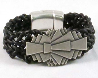 Black leather braided bracelet with art deco bead