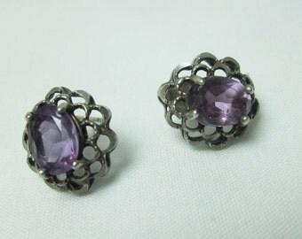 beautiful STERLING silver oval PURPLE amethyst filigree USA made peirced earrings