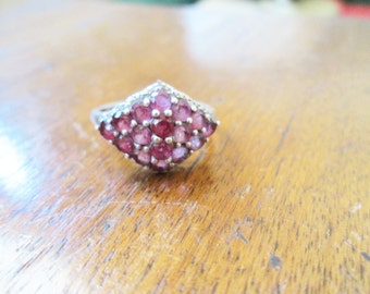 vintage STERLING silver RED ruby oprn back LARGE red pink size 8 ladies ring