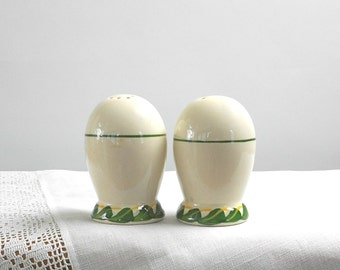 Vintage Salt Pepper Shakers Vernon Ware Philodendron Pattern California Pottery 1940s Retro Kitchen Dinnerware Dining Home Decor