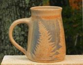 Arty Fern Mug, 26 oz. Collectable Handmade stoneware, Microwave friendly
