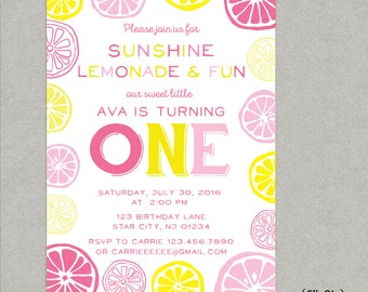 Pink Lemonade Birthday Party Invitation - first birthday - lemonade stand - pink and yellow - printed or DIY