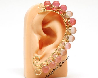 Gold and Pink Glass Ear Wrap Ear Cuff Fantasy Ear Jewelry Ombre Ear Cuff - LEFT Ear Only