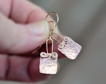Hammered Earrings. Rose Gold Copper Earrings. Copper Jewelry. Copper Sheet Earrings Small Rectangle Earrings Gold Filled Wires Free Shipping
