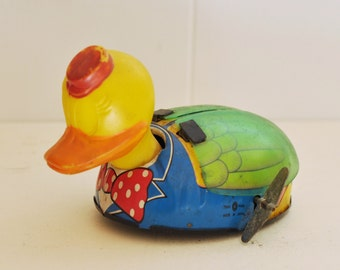 Vintage Wind Up Tin Toy Duck w/ Flapping Wings 1950's Lithographed Rare Collectible Mid Century Doll Made in Japan
