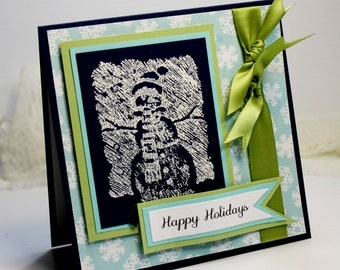 "Christmas Card - Handmade Greeting Card - 5.25 x 5.25"" - Happy Holidays  Stampin Up - 3D Card - Snowman  Holiday Card - OOAK"