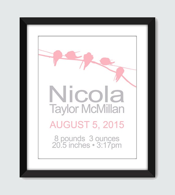 Baby Announcement Wall Art. Bird on a Wire Birth Announcement Personalized Nursery Art. Baby Gift 8x10, 5x7 Custom Nursery Wall Print Poster