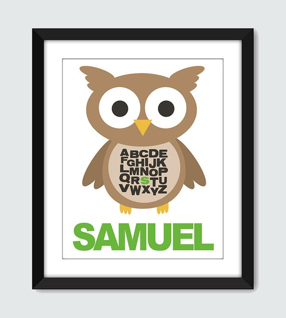 Owl Alphabet Wall Print. ABC Wall Art with Personalized Name. Custom 8x10 Poster for Baby & Children by mateoandtobias on Etsy