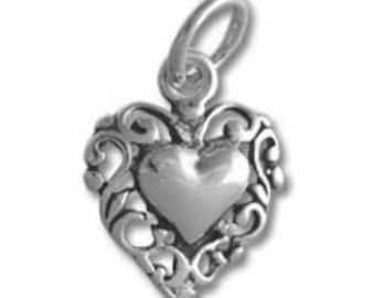 Filigree Heart Charm - Sterling Silver