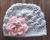 Girl Crochet Hat, Newborn Girl Hat, Gray and Rose Pink Hat, Baby Girl Hat, Newborn Photography Prop, Girls Gray Hat, Baby Girl Beanie