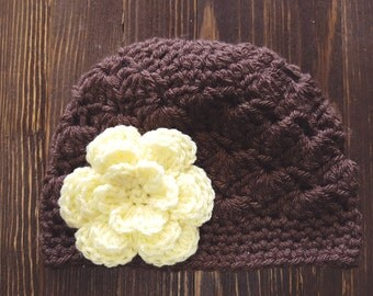 Girls Hat, Brown and Yellow Girl Hat, Newborn Girl Hat, Crochet Baby Hat, Crochet Girls Hat, Baby Girl Hat, Baby Hat for Girls