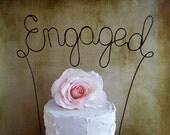ENGAGED Cake Topper Banner - Custom Engagement Party Cake Topper, Rustic Wedding Cake Decoration, Shabby Chic Wedding