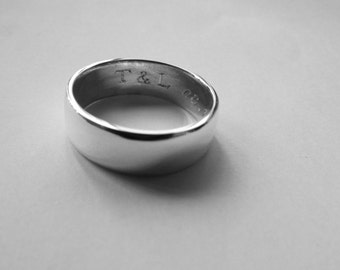 Wedding band Mens wedding ring sterling silver wedding band for him 7mm wide ring 7mm ring rounded band rounded ring groom