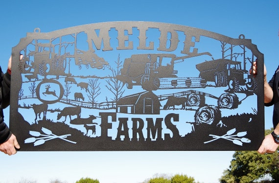 Family Metal Farm Sign Personalized Farming Signlarge Row