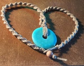 Turquoise Stone Pendant Tan Hemp Spiral Necklace 19 Inches Handmade
