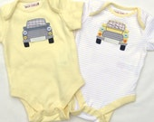 Handmade Applique Mini Cooper Baby Onesie