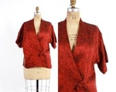 Vintage 50s SHAHEEN Cover-Up / 1950s Shimmering Red & Black Brocade Draped Top