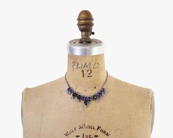 Vintage 50s Rhinestone NECKLACE / 1950s Two Tone BLUE Glitzy Glass Ice Necklace
