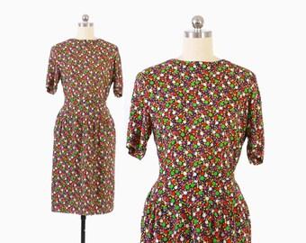 Vintage 80s CHLOE DRESS / 1980s Designer Polka Dot Top & Matching Skirt Set Ensemble S