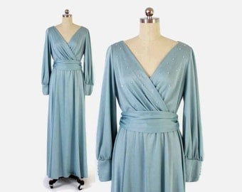 Vintage 70s Maxi DRESS / 1970s Lilli Diamond Beaded Rhinestone Baby Blue Belted Evening Gown M