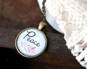 Peace Necklace - Peace Charm - Inspirational Word Jewelry - Peace Pendant - Peace Jewelry - Encouragement Necklace - Walk in Peace