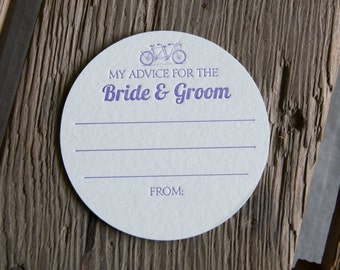 30 Bike Advice for the BRIDE & GROOM Coasters, (Letterpress printed, 3.5 inch circle)