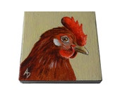 Little red hen painting, chicken art miniature canvas square