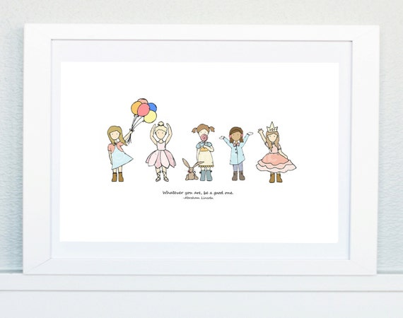 Be a Good One (girls), Nursery Art Picture, Baby's bedroom Illustration, Nursery print, New baby, Children's décor, Girls room art