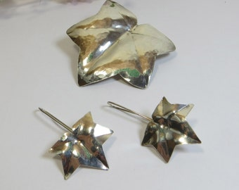 Ivy Brooch and Earrings, Vintage Sterling Silver Handmade Ivy Brooch/ Convertible Pendant and Earrings - Absolutely Gorgeous Matching Set