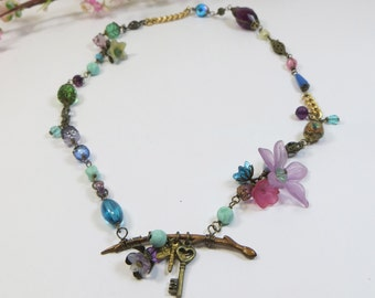 Handmade Assemblage Necklace w Vintage & Contemporary Beads,Swarovski, Bronze Gold Green Pink Charm Wirewrapped Necklace w Venetian Glass