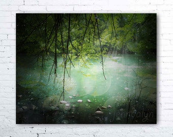 nature photography - river decor - surreal green aqua forest photography - woodland wall art