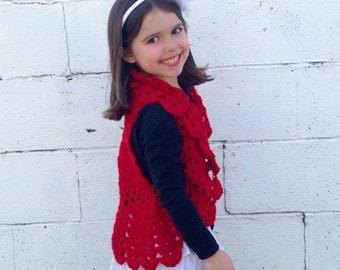 Girls Bolero Fits size 4T to 8x, Girls Shrug, Crochet Shrug, Crochet Bolero, Flower girl bolero, wedding bolero, girls clothing, photo prop