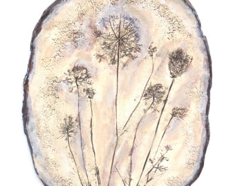 Weed Imprint Ceramic Wall Hanging Organic Clay Wall Art Rustic Flower Home Decor Queen Ann's Lace Earthy Wall Decor