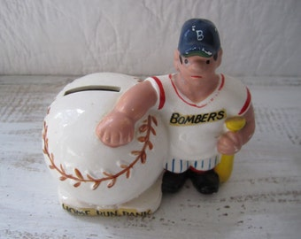 Vintage collectible ceramic baseball bank pot bellied Bombers home run bank sports man cave decor boys decor Made in Japan
