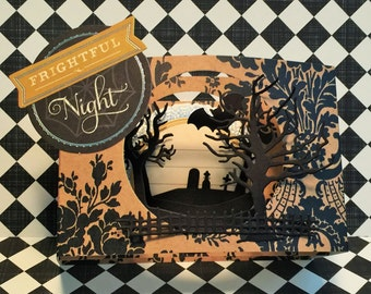Halloween Card, Halloween Diorama Card, Halloween 3D Card, OOAK