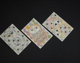 Owl Stickers - Six Sticker Set - Watercolor - Monkey Brains Design