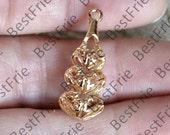 2pcs 24K Gold filled Brass charm  Hulu Pendant,Gold pendant Charm Connector,pendant necklace Connector, Charm Jewelry finding beads