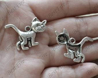 12 pcs Cats Charms Antique Silver Tone, pendant connector Charms,cat Earring Components ,pendant finding