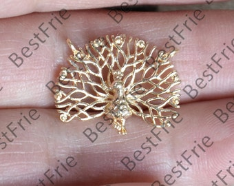 20x16mm 24K Gold filled Brass charm peacock Pendant,peacock Charm Connector,necklace Connector loose bead, Charms Jewelry finding beads