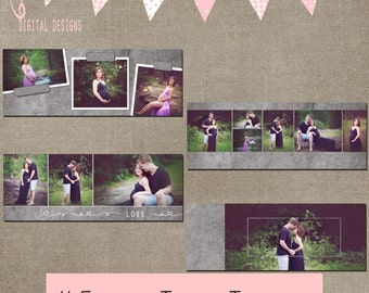 Facebook Timeline chalkboard Set of 4 Cover Collage Photographer Photography Template PSD - INSTANT DOWNLOAD cs or Elements grey charcoal