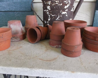 Lot 19 Pcs Vintage Small Terra Cotta Pots and Saucers for Indoor and Outdoor Planting Succulent Pots
