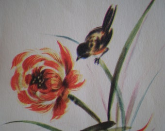 Vintage Unused Blank Greeting Card - Bird & Flower